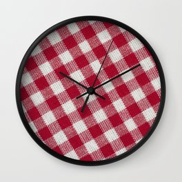 Red classic checkered tablecloth texture Wall Clock