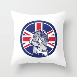 British Building Contractor UK Flag Icon Throw Pillow