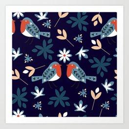 Winter bullfinches Art Print