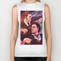 johnlock Biker Tanks featuring Watson and Holmes by Krusca