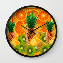 HAWAIIAN PINEAPPLE & ORANGE SLICES GREEN  KIWI FRUIT Wall Clock