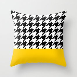 Houndstooth with mustard stripe Throw Pillow