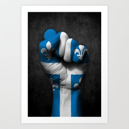Quebec Flag on a Raised Clenched Fist Art Print
