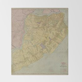 Vintage Map of Staten Island NY (1911) Throw Blanket