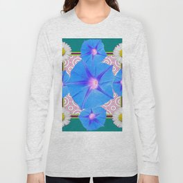 Blue Morning Glories & Shasta Daisies Teal Art Long Sleeve T-shirt