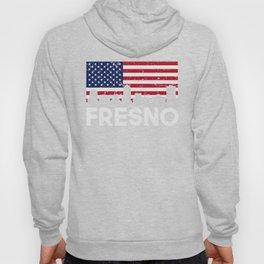 Fresno CA American Flag Skyline Distressed Hoody