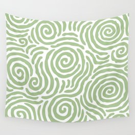 Ripple Effect Pattern Sage Green Wall Tapestry