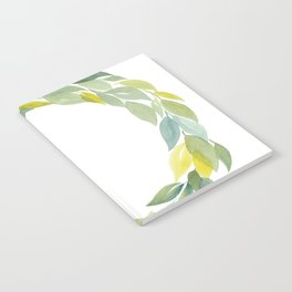 Green and Leafy Watercolor Wreath Notebook