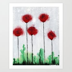 Red Wildflowers Art Print