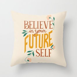 Believe in Your Future Self in Bronze + Mustard Throw Pillow