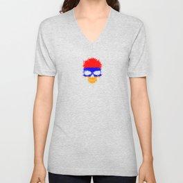 Flag of Armenia on a Chaotic Splatter Skull Unisex V-Neck