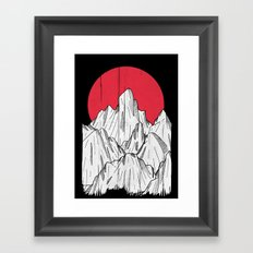 The red sun and the mountains Framed Art Print