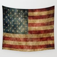 american flag Wall Tapestries featuring American Flag by KOverbee