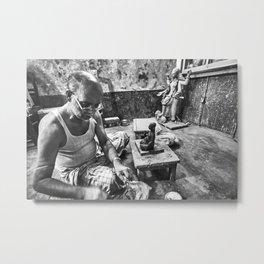 A small workshop for Hundu statues on Hindu Street in Dhaka, Bangladesh; Black and White Photography Metal Print