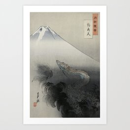 Dragon Rising to the Heavens at Mount Fuji by Ogata Gekko Art Print