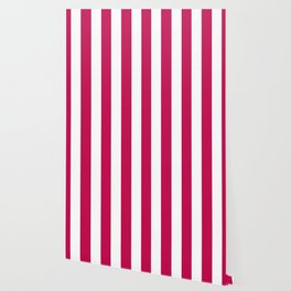 Pictorial carmine fuchsia - solid color - white vertical lines pattern Wallpaper