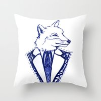 mr fox Throw Pillows featuring MR. FOX by Sagara Hirsch