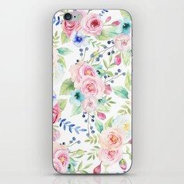 Blush pink watercolor elegant roses floral iPhone Skin