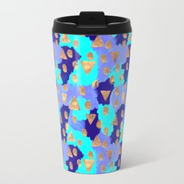 Friday Afternoon - Modern Free Style Abstract Pattern - Navy, Teal & Gold Travel Mug