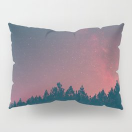 Pink And Black Milky Way Galaxy Forest Pillow Sham