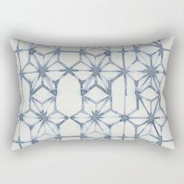 Simply Shibori Stars in Indigo Blue on Lunar Gray Rectangular Pillow