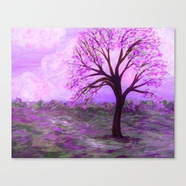 One Purple Tree Abstract Landscape Canvas Print