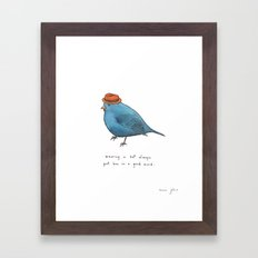wearing a hat always put him in a good mood Framed Art Print