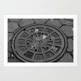 Mahattan Manhole Art Print