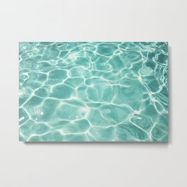 Water Abstract Photography, Teal Ocean, Turquoise Sea, Water Ripple Seascape Metal Print