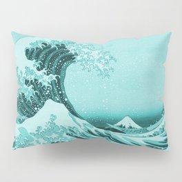 Aqua Blue Japanese Great Wave off Kanagawa by Hokusai Pillow Sham