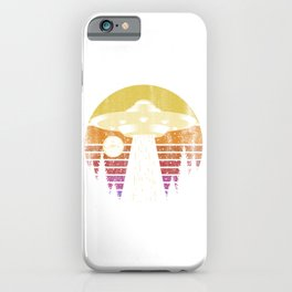 Landing UFO In The Sunset iPhone Case