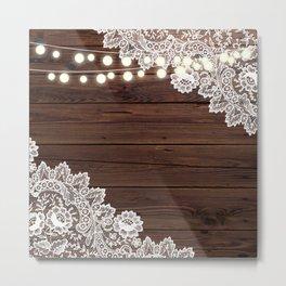 shabby chic brown barn wood lace string lights  Metal Print