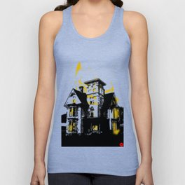 HelloHorror Issue 3 Cover Detail - haunted house Unisex Tank Top