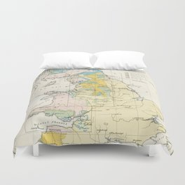 Vintage Map of the Coal Fields of Great Britain Duvet Cover