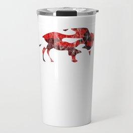 Red Camo Raging Buffalo Buffaloes Camouflage I Love Buffaloes Travel Mug