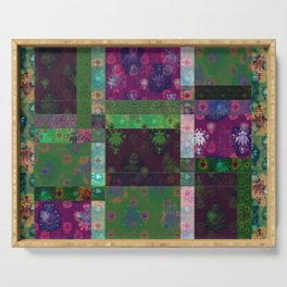Lotus flower green and maroon stitched patchwork - woodblock print style pattern Serving Tray