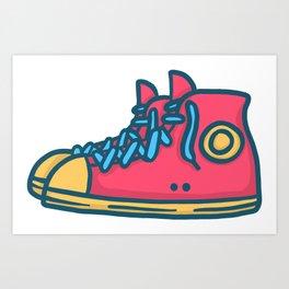 Chuck Taylors Inspired Vintage Pop Shoes Art Print