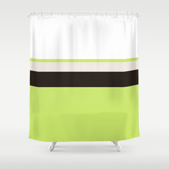 Modern Lime Green Color Block Gray Stripes White Shower Curtain