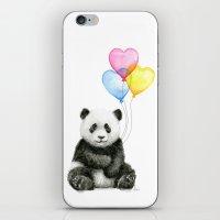 Panda Baby with Heart-Shaped Balloons Whimsical Animals Nursery Decor iPhone & iPod Skin