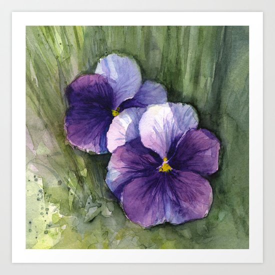 Purple Pansies Watercolor Flowers Painting Violet Floral Art Art Print