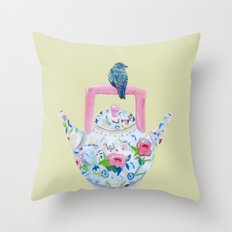 Bluebird and Teapot Throw Pillow