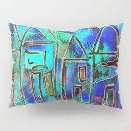 Neon Blue Houses Pillow Sham