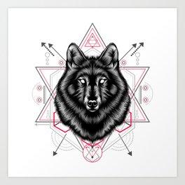 The Wolf sacred geometry Art Print