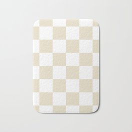 Large Checkered - White and Pearl Brown Bath Mat