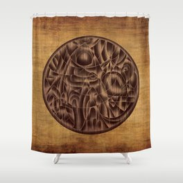 Abstract Wood Carving Pattern Shower Curtain