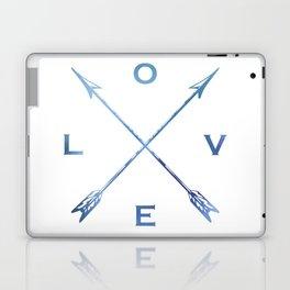 Watercolor Love Arrows Blue Laptop & iPad Skin