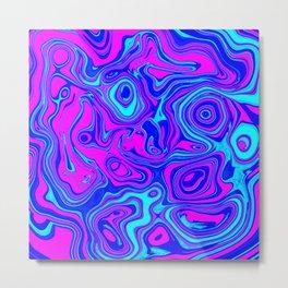 Liquid Color Pink and Blue Metal Print