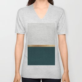 Deep Green, Gold and White Color Block Unisex V-Neck