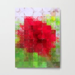 Red Rose Edges Abstract Circles 2 Metal Print