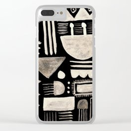 Hand Painted 'Alien Language' Doodle Pattern White on Black Clear iPhone Case